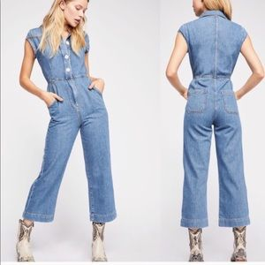 Free People | Unchained Melody Denim Overalls sz 8